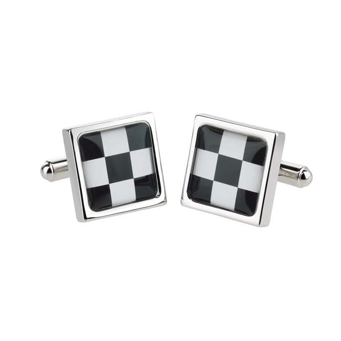 Black Check Cufflinks
