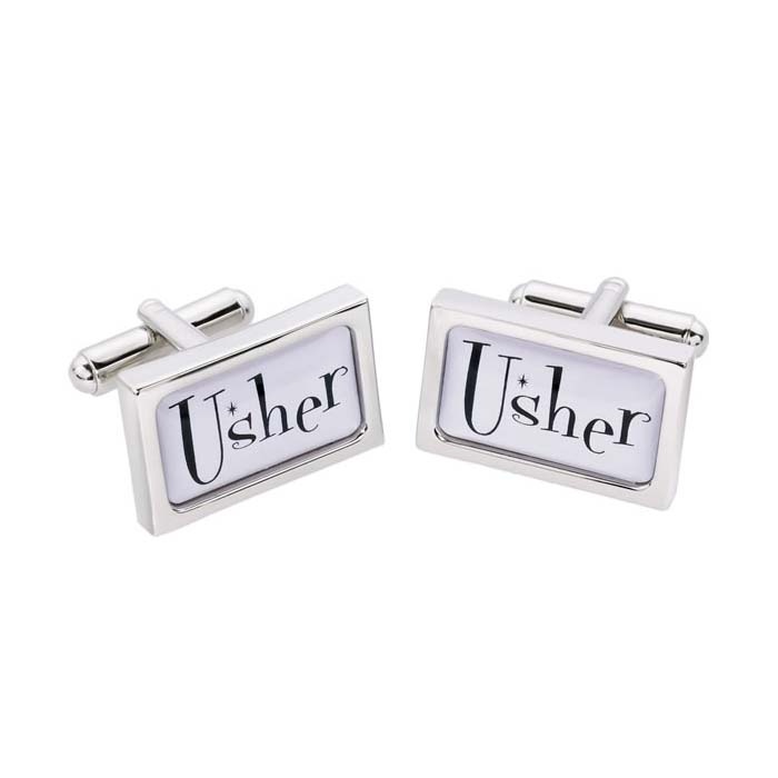 Usher Rectangular Text Cufflinks