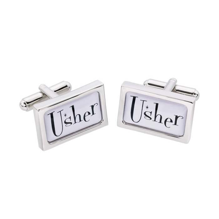 Usher Rectangular Text Cufflinks