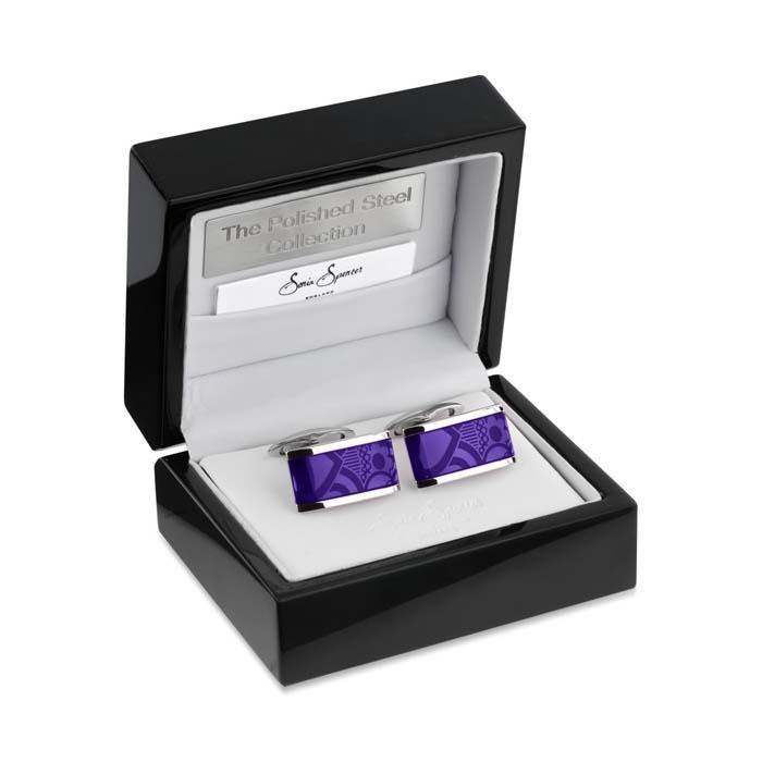 Oblong Lozenge Purple Cufflinks