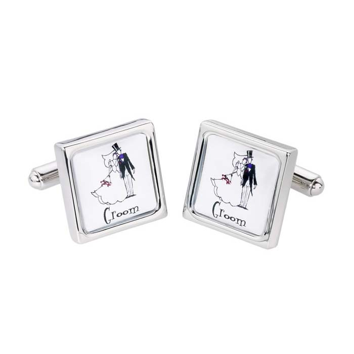 Groom Silver Bordered Cufflinks