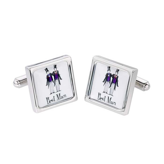 Best Man Silver Border Cufflinks