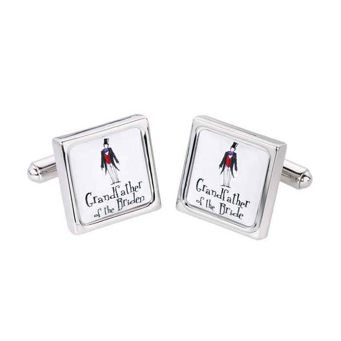 Grandfather Of The Bride Square Boardered Cufflinks