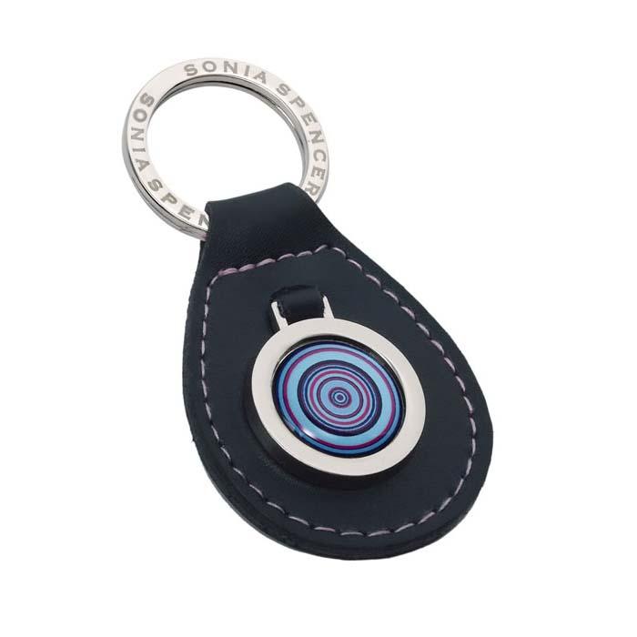 Blue Leather Key Fob