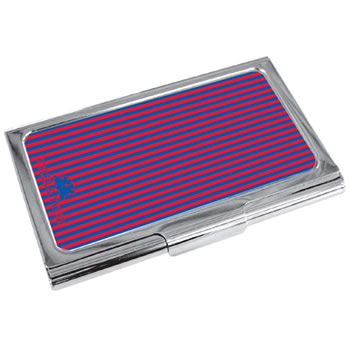 Pinstripe Red Business Card Holder