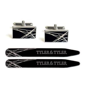Diffusion Black Cufflink And Collar Stiffener Sets