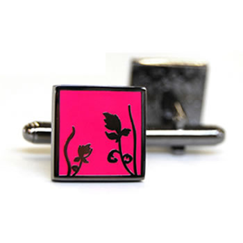 Spring - Black Metal Finish Bright Pink Cufflinks