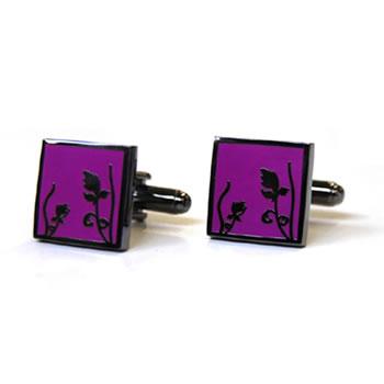 Spring - Black Metal Finish Purple Cufflinks