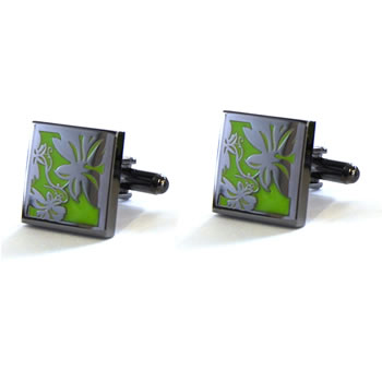 Vine - Black Metal Finish Green Cufflinks