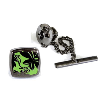 Vine Green - Black Metal Finish Tie Pins