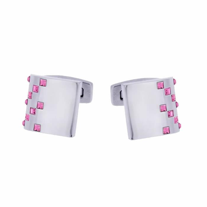 Pink Drop Swarovski Crystal Cufflinks