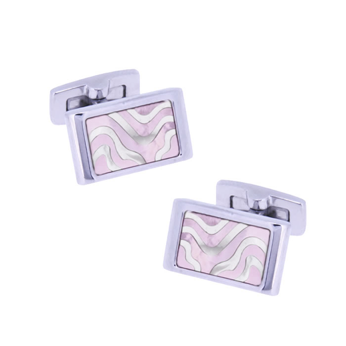 Mother Of Pearl And Pink Swirl Cufflinks