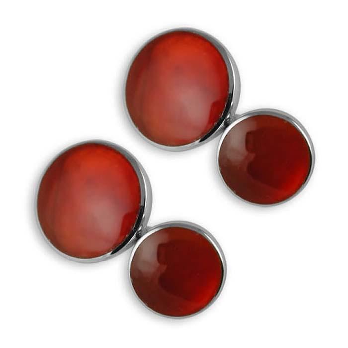 Sterling Silver Cornelian Round Cufflinks