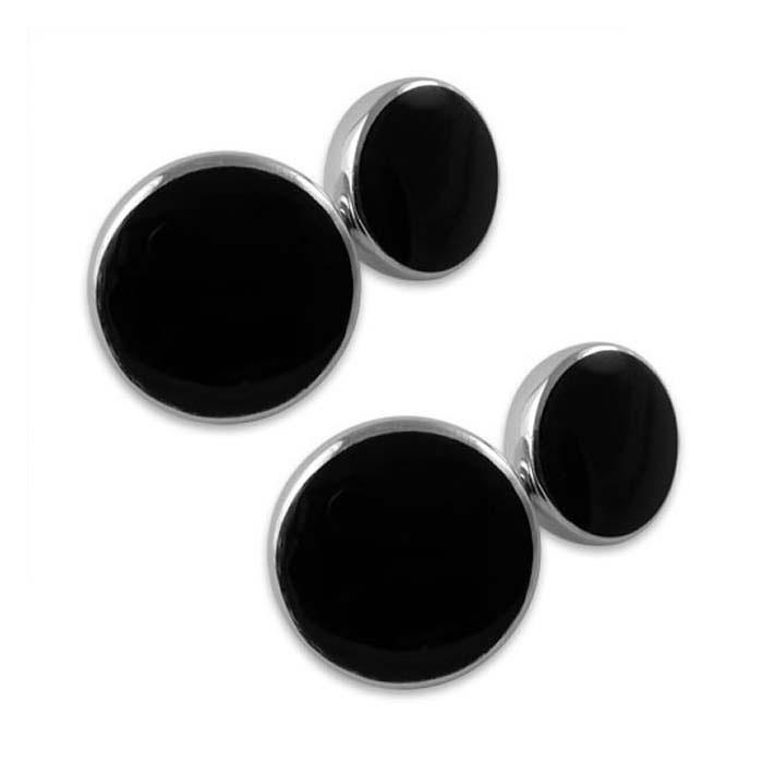 Sterling Silver Onyx Round Cufflinks