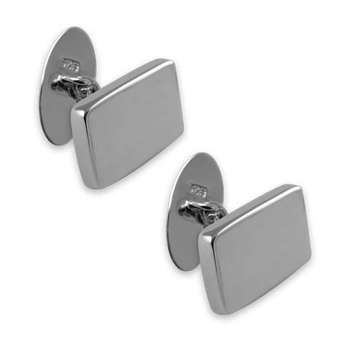 Sterling Silver Plain Rectangular Chain Cufflinks