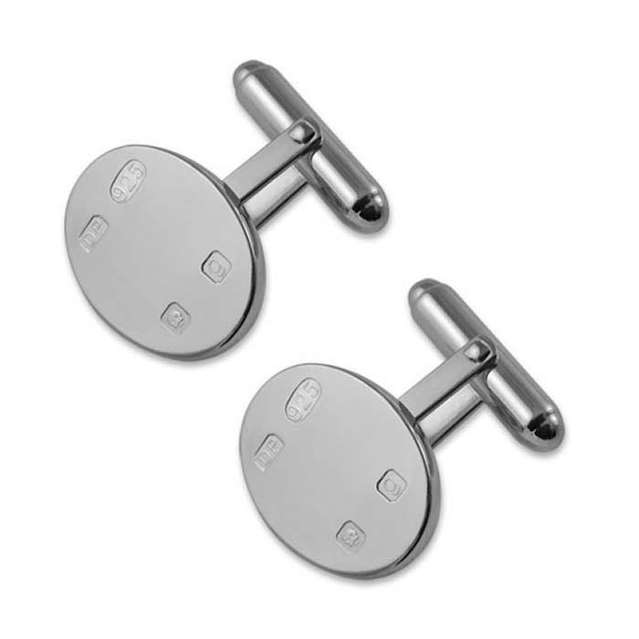 Sterling Silver Simple Style Oval T-Bar Cufflinks
