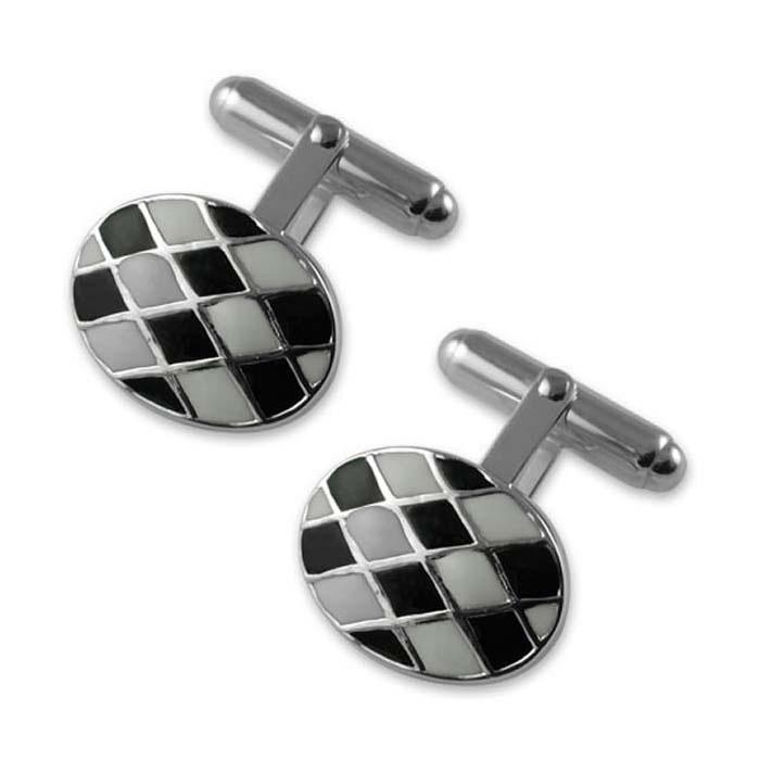 Sterling Silver Enamelled Checker Post Cufflinks