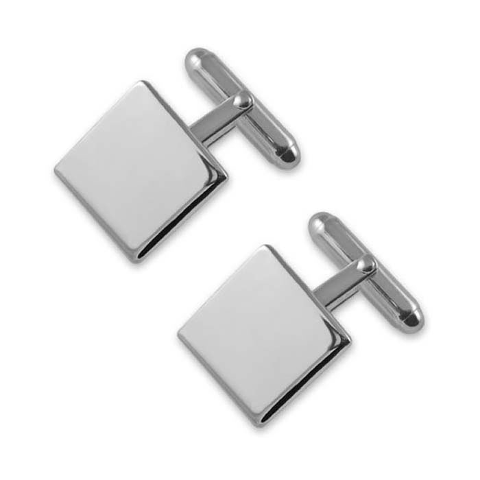 Sterling Silver Simple Square T-Bar Cufflinks