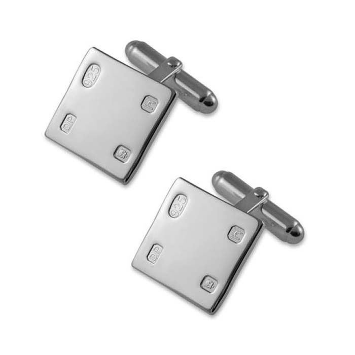 Sterling Silver Square Styled T-Bar Cufflinks