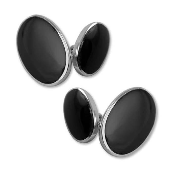 Sterling Silver Simple Style Onyx Oval Cufflinks