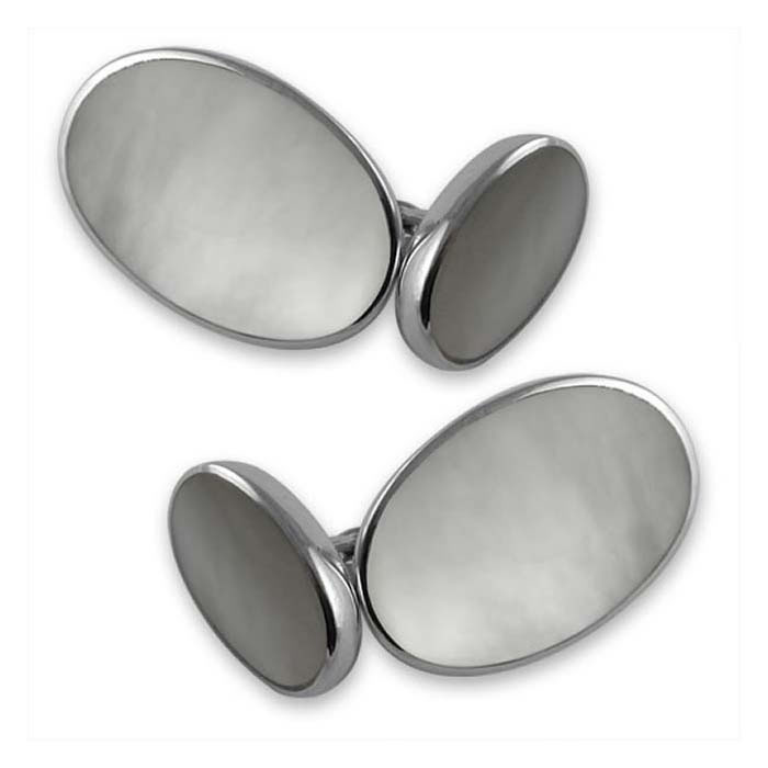 Plated Sterling Silver Oval Mother Of Pearl Cufflinks