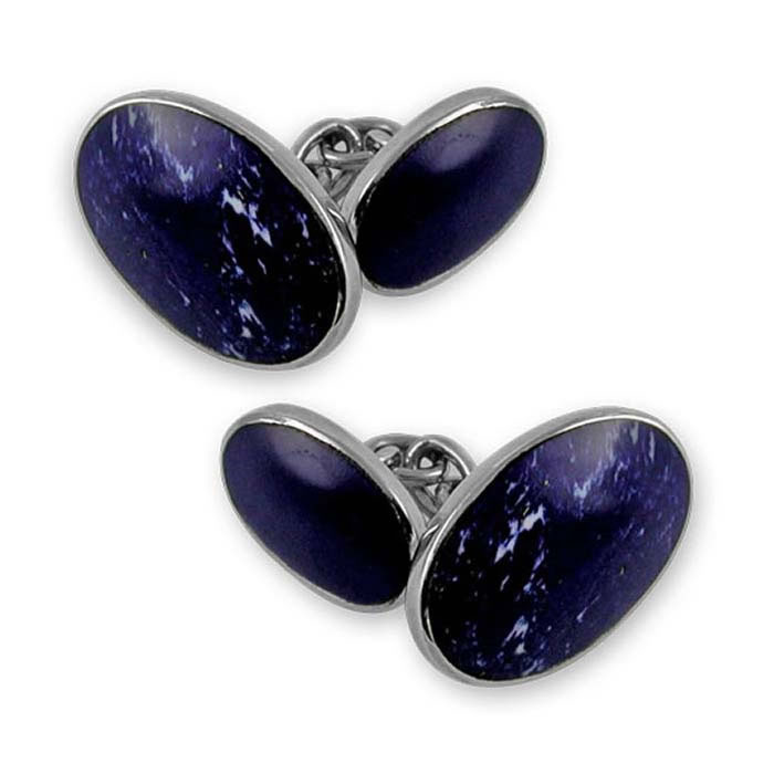 Sterling Silver Lapis Oval Cufflinks