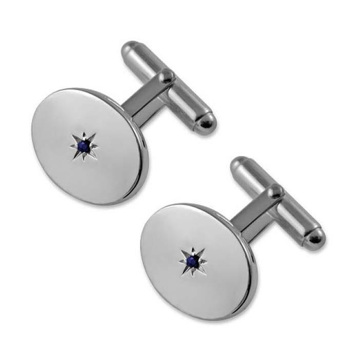 Sterling Silver Sapphire Oval Cufflinks