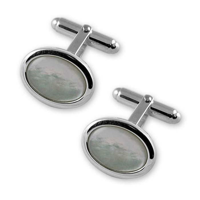 Sterling Silver Oval Border Style Mother Of Pearl Cufflinks