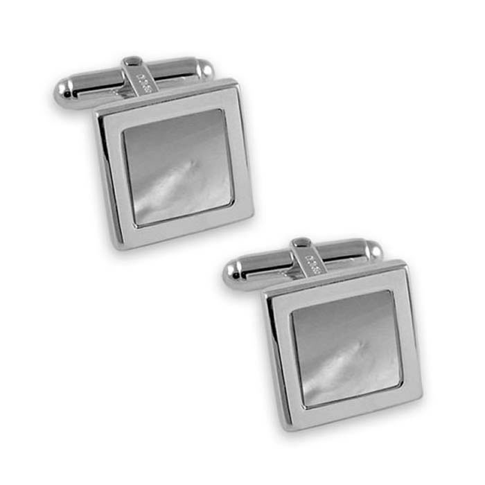 Sterling Silver Mother Of Pearl Square Cufflinks