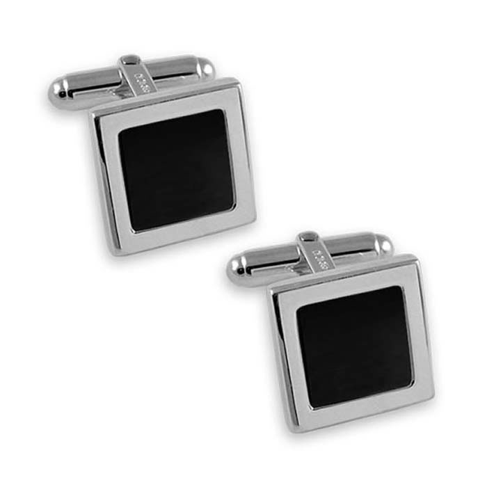 Sterling Silver Simple Style Onyx Square Cufflinks