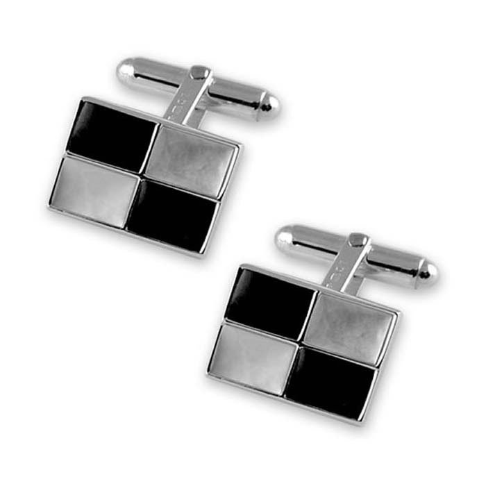 Sterling Silver Mother Of Pearl And Onyx Chequered Cufflinks