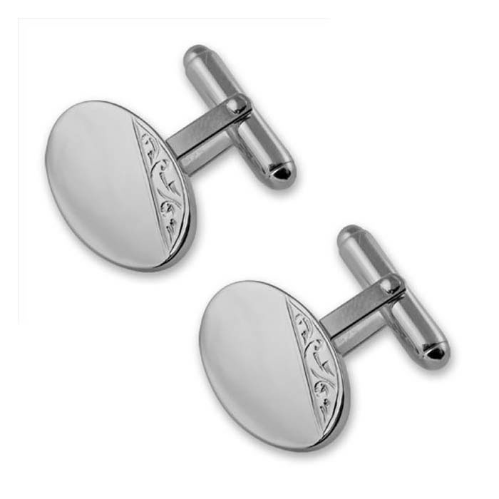 Plated Sterling Silver Hand Engraved Cufflinks