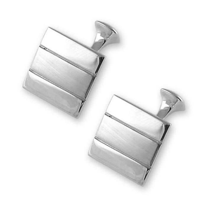 Sterling Silver Satin Finish Line Square Cufflinks