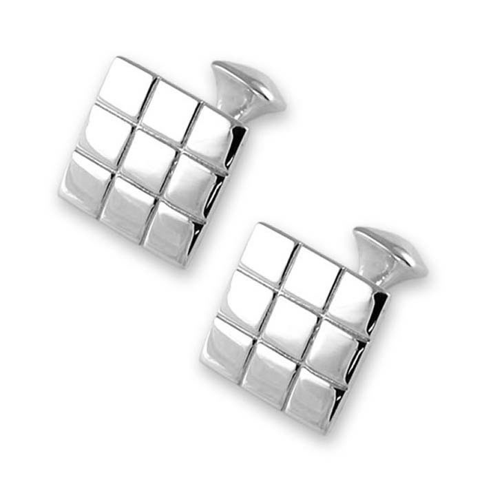 Sterling Silver Chequered Square Cufflinks