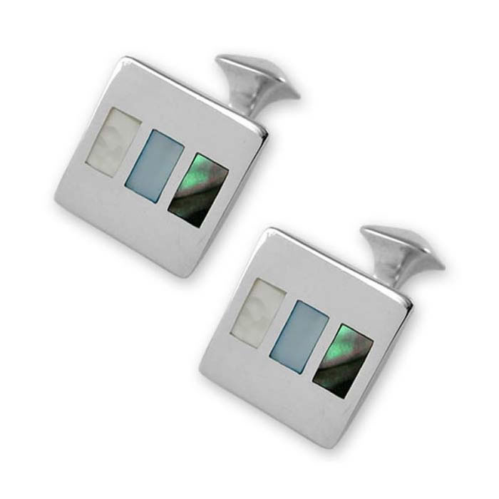 Sterling Silver Multi Shell Square Cufflinks