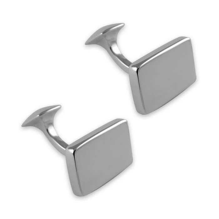Sterling Silver Plain Rectangle Cast Cufflinks