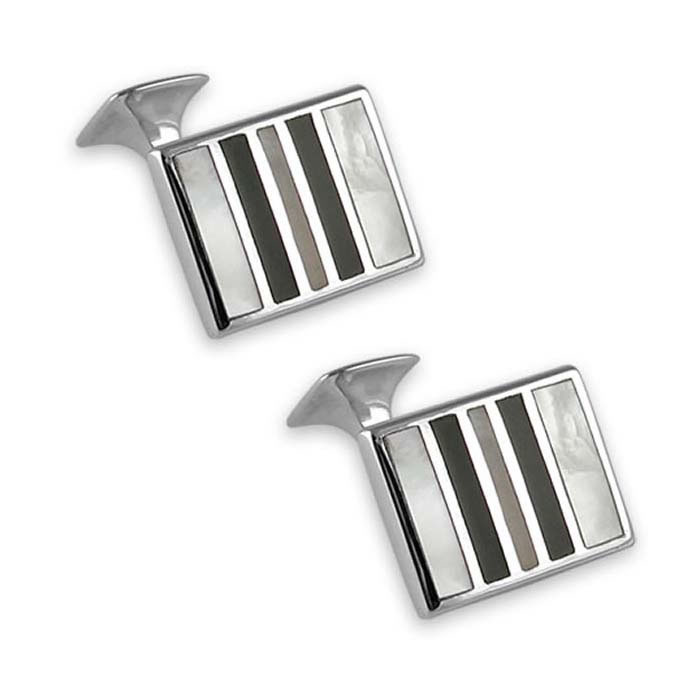 Plated Sterling Silver Mother Of Pearl - Onyx Cufflinks