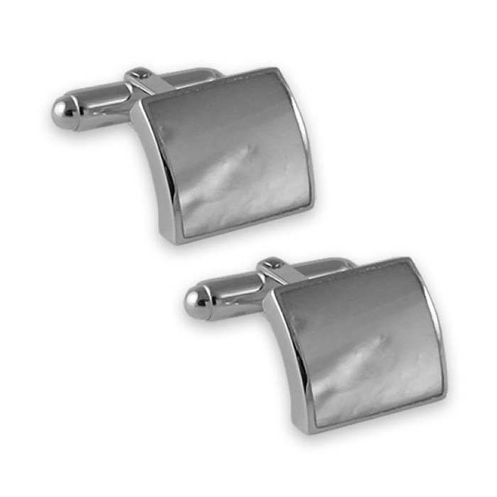 Sterling Silver Mother Of Pearl Convex Cufflinks