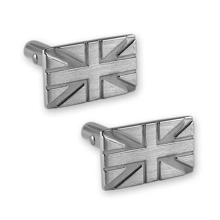 Sterling Silver Union Jack Style Cufflinks
