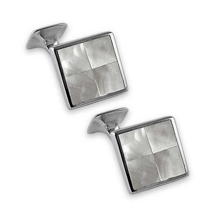 Sterling Silver Mother Of Pearl Square Shaped Chequered Cufflinks