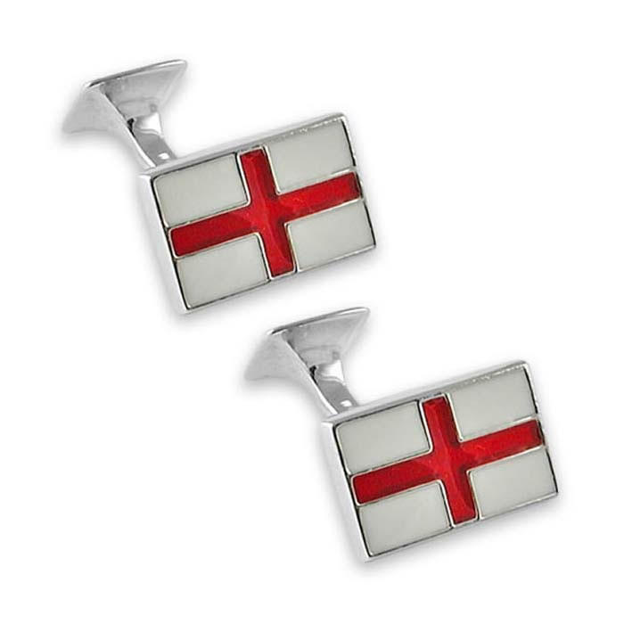 Sterling Silver St Georges Flag Rectangle Cufflinks