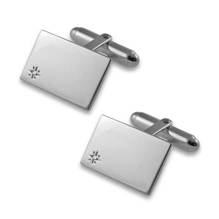 Sterling Silver Diamond Square Cufflinks
