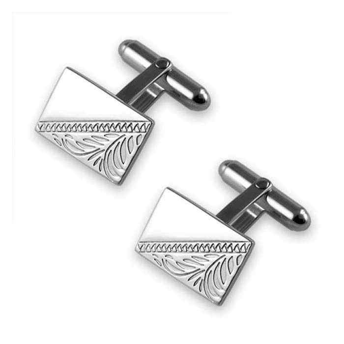 Sterling Silver Hand Engraved Rectangle Cufflinks