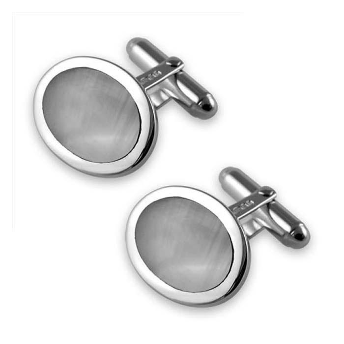 Sterling Silver Blue Shell Oval Cufflinks