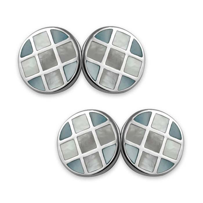 Sterling Silver Blue And White Mop Round Cufflinks