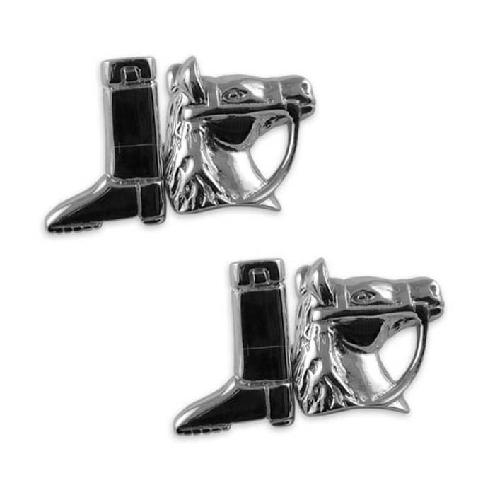 Sterling Silver Horse And Boot Cufflinks
