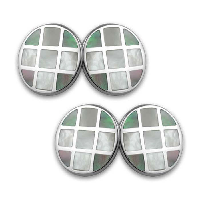 Sterling Silver Black And White Mop Round Cufflinks