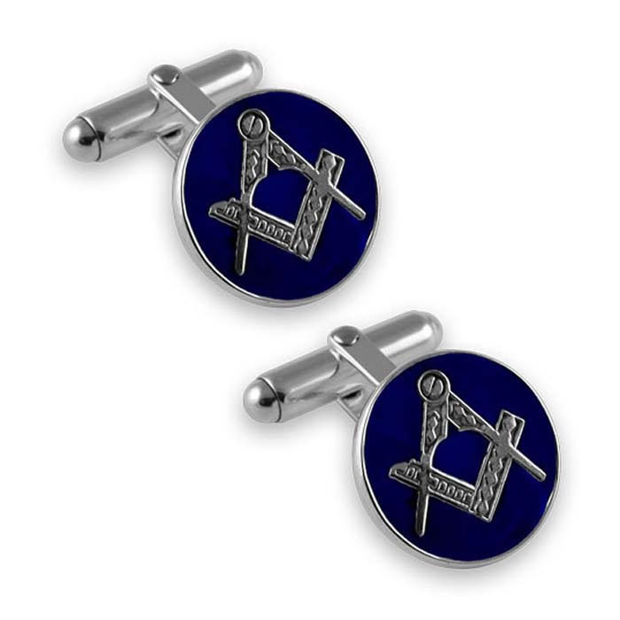 Sterling Silver Masonic Round Cufflinks