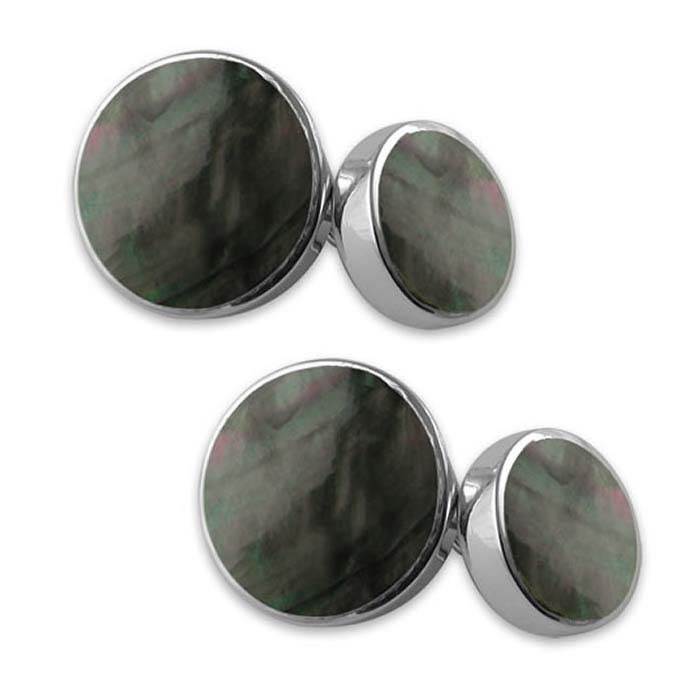 Sterling Silver Round Black Shell Cufflinks