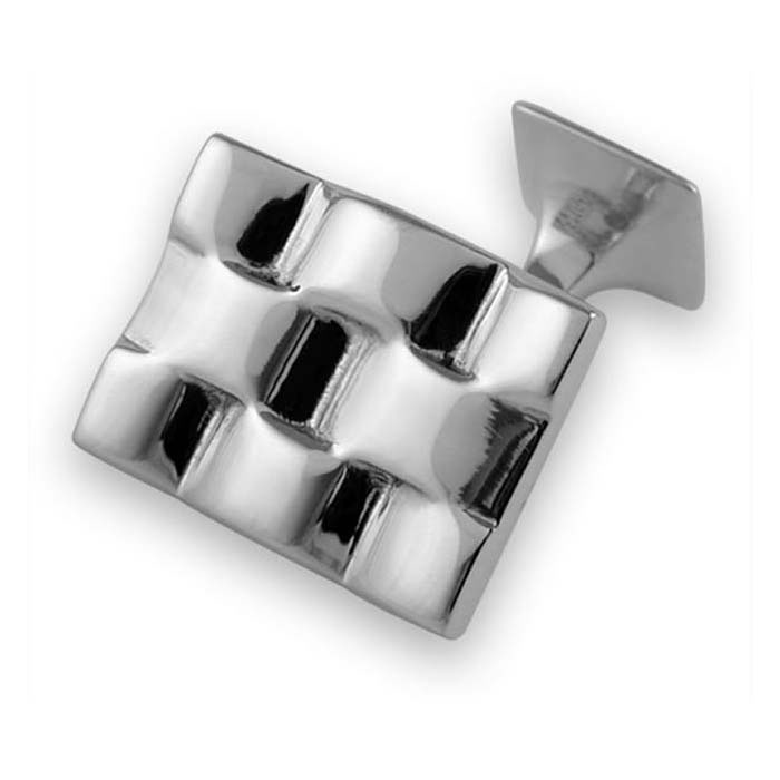 Sterling Silver Wavy Square Link Cufflinks